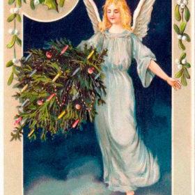 Открытка 19 века, ангел