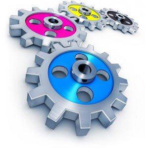 Фото механизм CMYK оборудования типографии