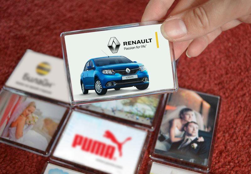 Акриловые магниты с логотипами компаний и фотографиями