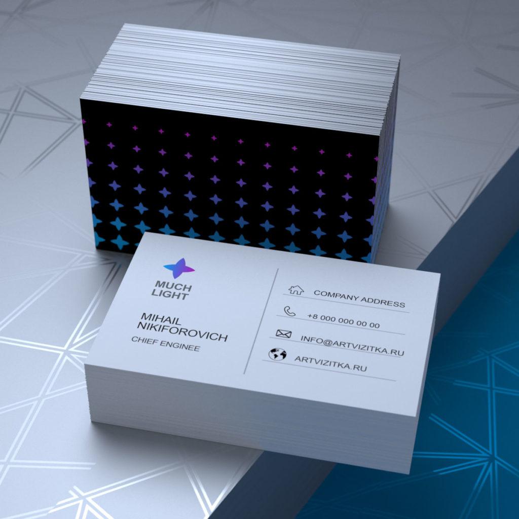Хороший пример двухсторонней визитки для зарубежных партнеров с евро размером 85х55мм.