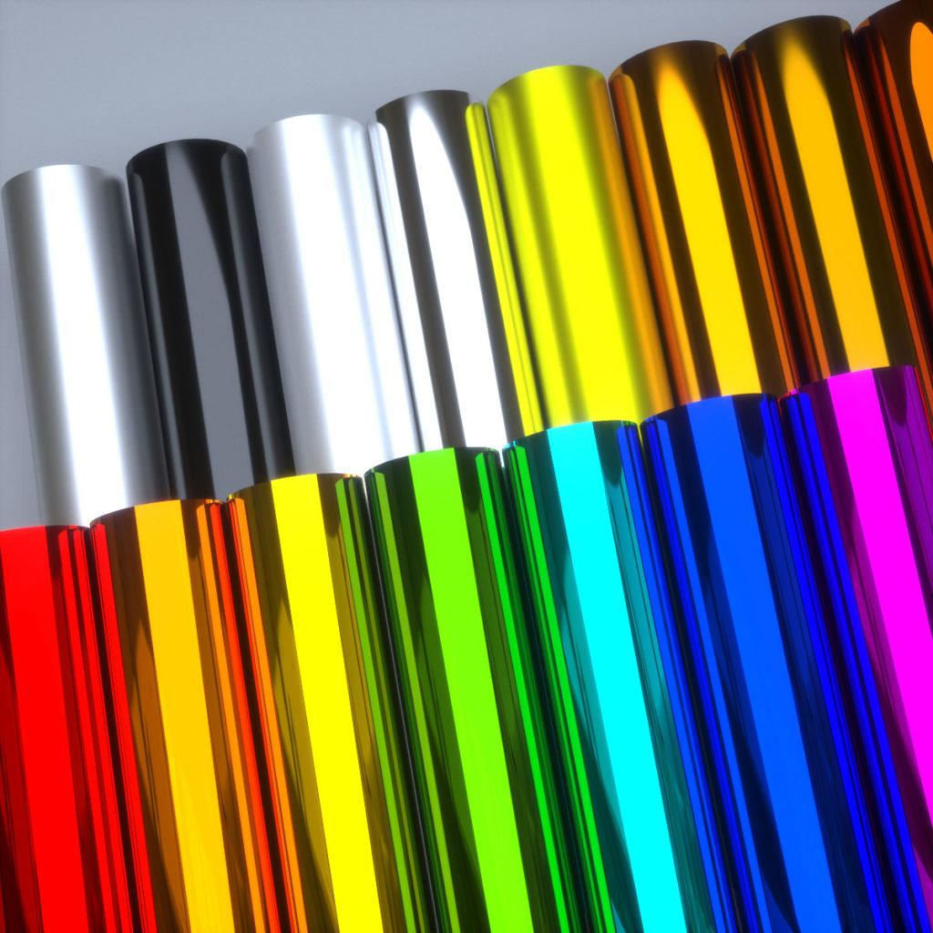 Фольга для горячего тиснения и фольгирования, матовая и глянцевая, в  полиграфии выпускаются десятки цветов, на фото переставлены самые популярные.