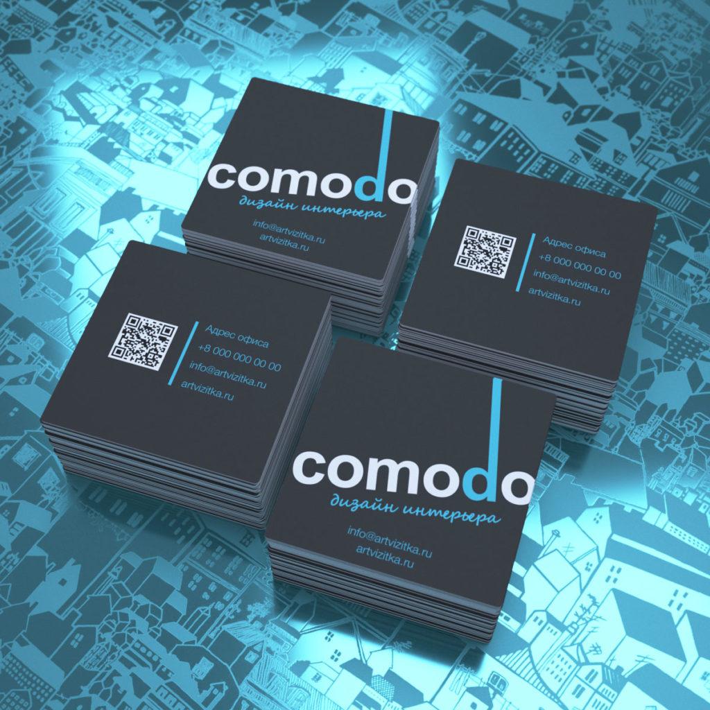 Квадратные визитки с расположением текстовой информации под углом.