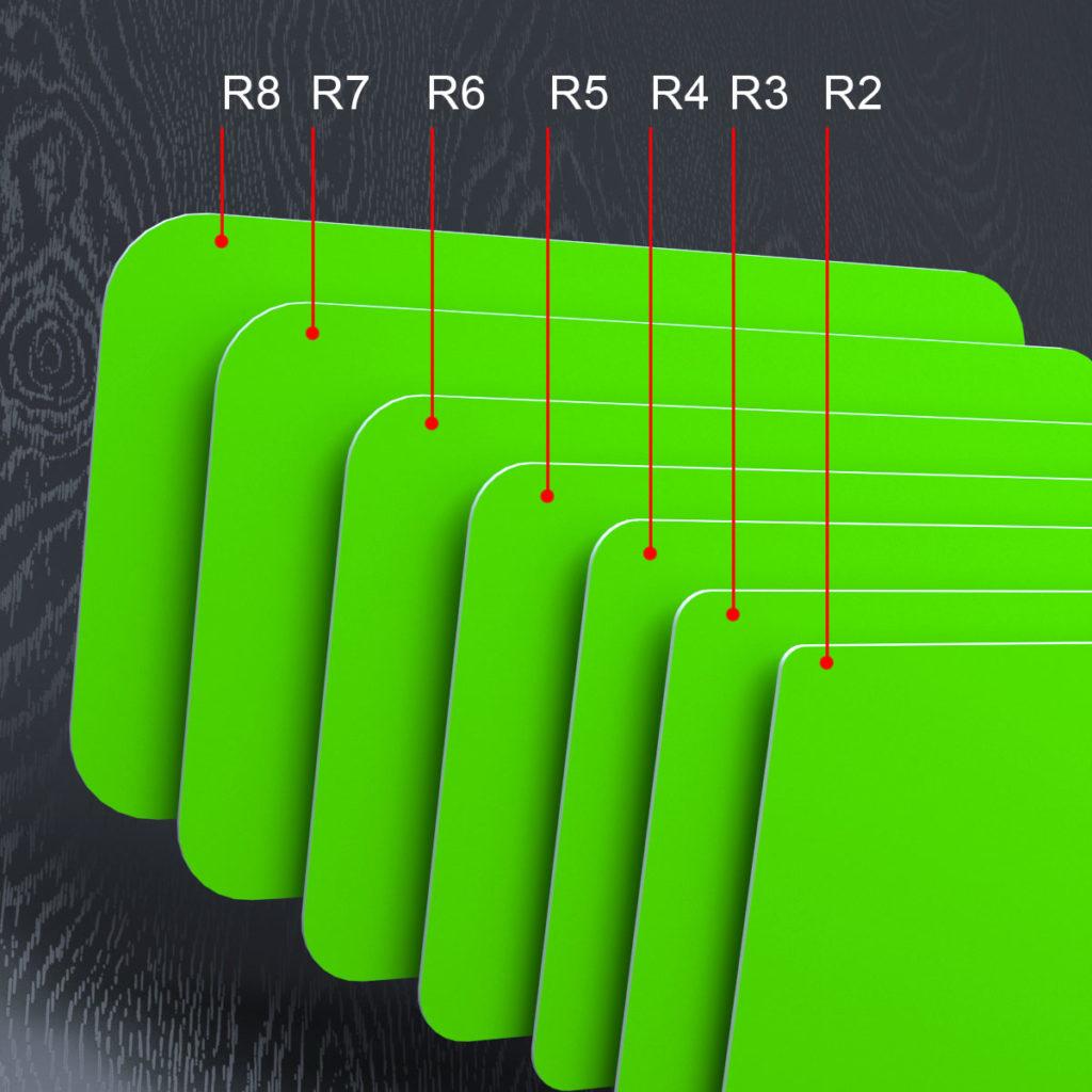 Семь визиток с различным радиусом вырубки R2, R3, R4, R5, R6, R7, R8.