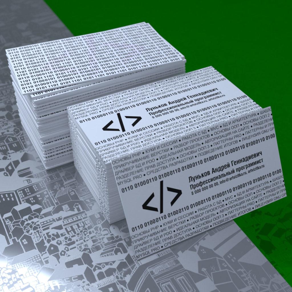 Визитки программиста с интересным дизайном и креативным расположением текстовой информации.