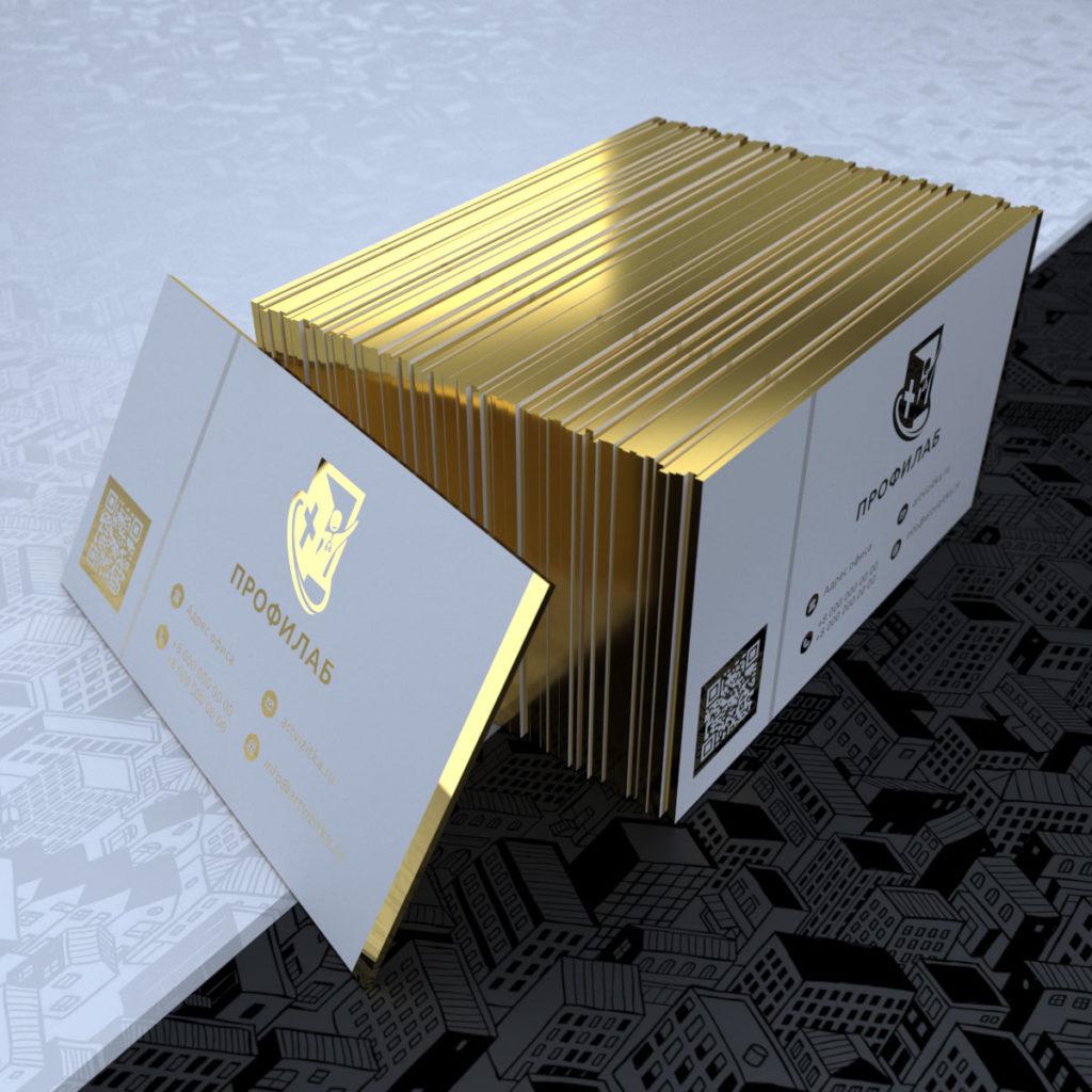 Визитки из толстой хлопковой бумаги с золотым тиснением среза и золотым фольгированием.