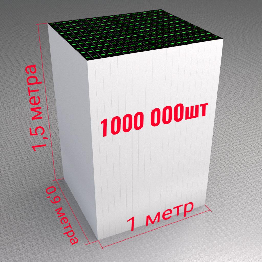 Вот так выглядит тираж  1000 000 шт визиток, напечатан офсетом на бумаге 320 гр.