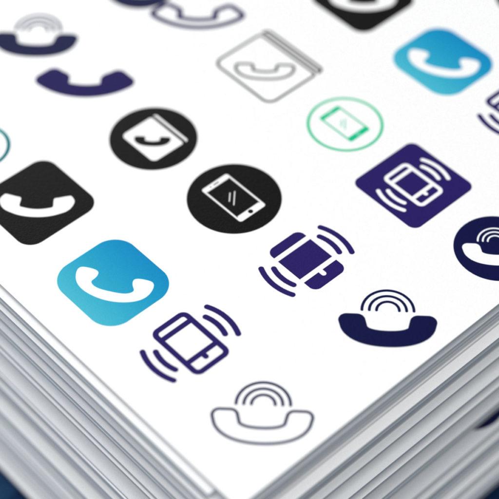 Множество разнообразных иконок телефона которые можно использовать на визитках.