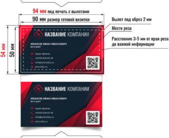 Размеры визиток с вылетами и после обрезки.