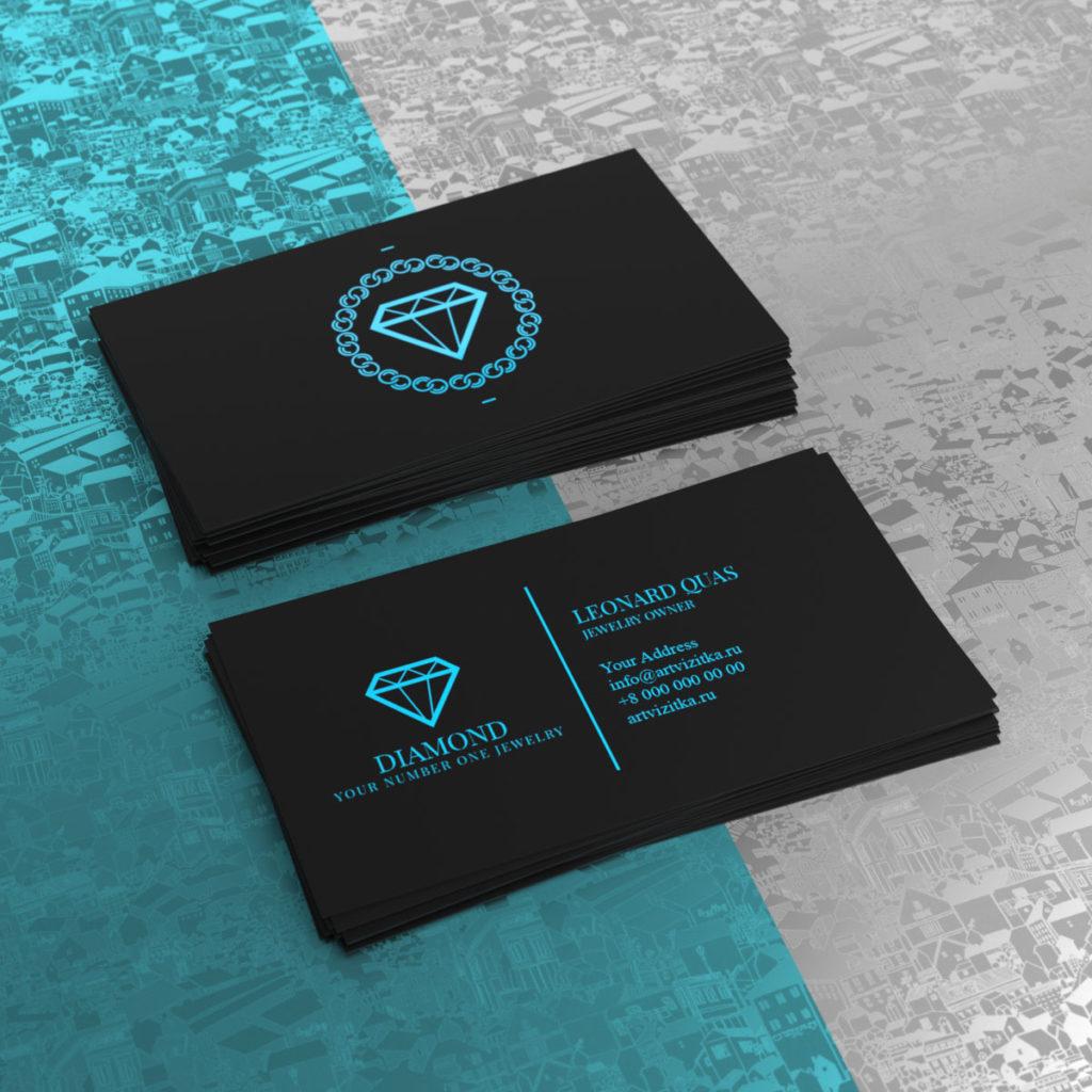 Цветная ультрафиолетовая печать визиток по черному тачкаверу.
