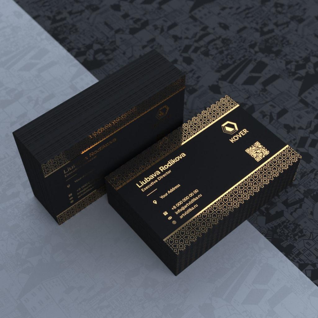 Визитки VIP класса на черном тачкавере с фольгированием золотом.