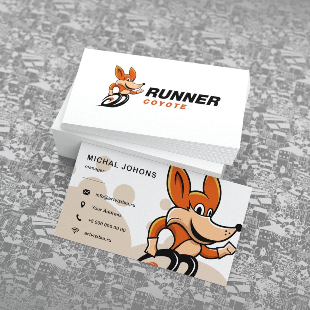 Визитка с изображением логотипа в виде графического койота.