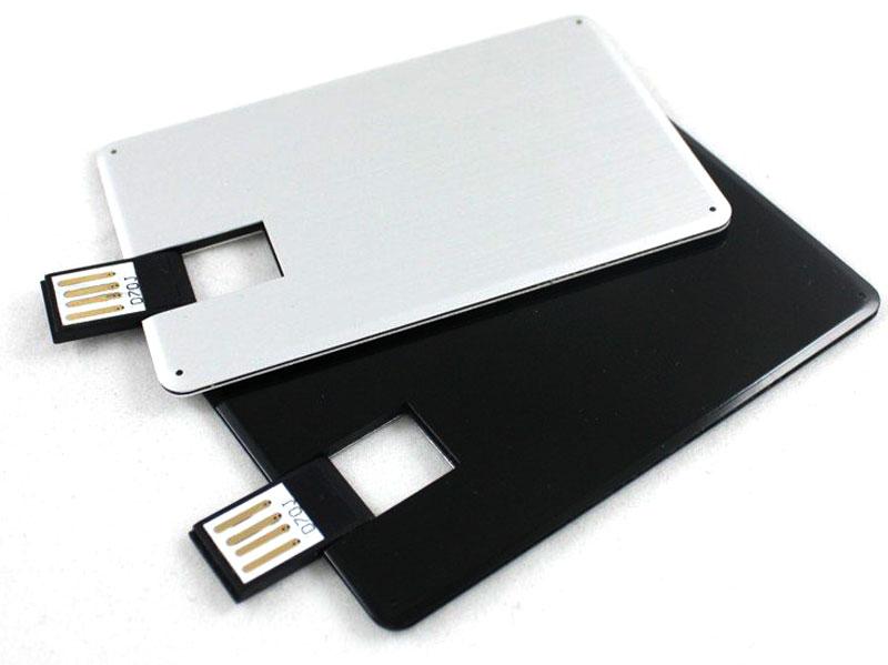 Флешка визитка из черного и белого пластика.