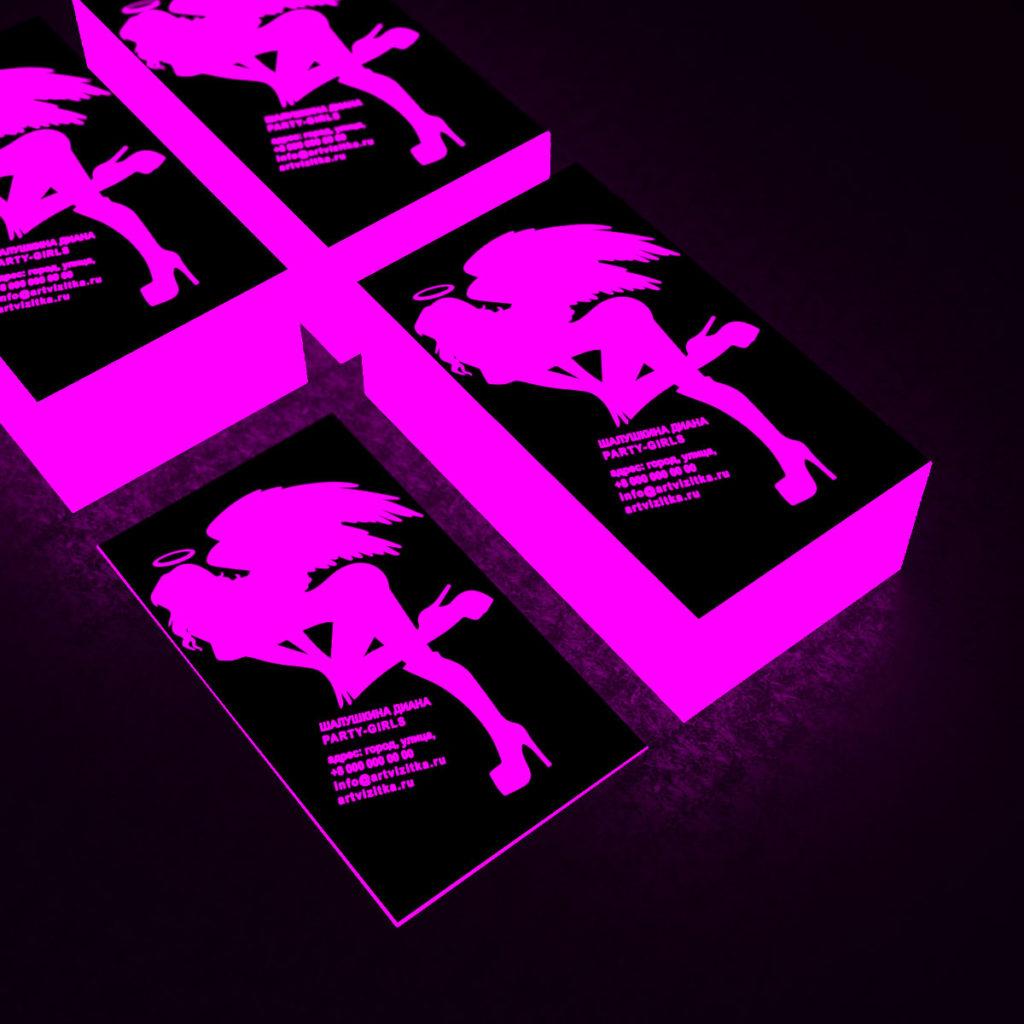 Неоновое свечение розовым цветов визиток.