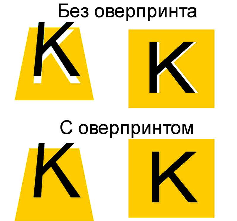 Пример печати черного шрифта с оверпринтом и без него по фону.