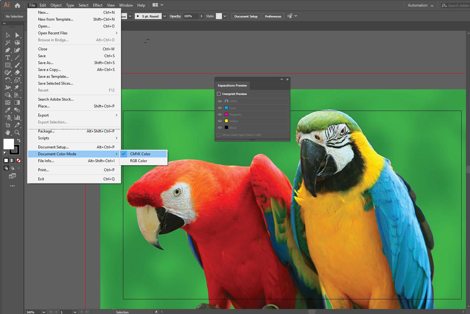 Цветовое пространство CMYK в иллюстраторе