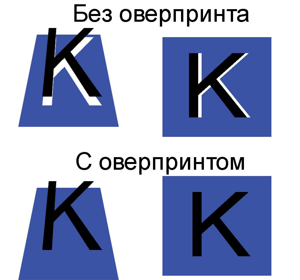 Пример печати с оверпринтом по черному и без, без оверпринта приводит к браку, при печати выходит белый цвет из под плашки.