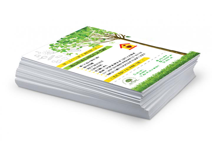 Цветная печать четырьмя красками CMYK по белой бумаге
