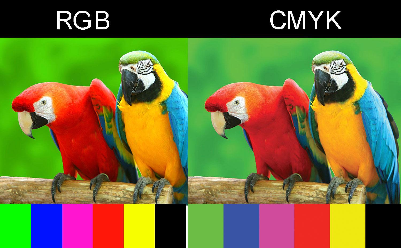 Сравнения передаци цвета на ярком фото в RGB и CMYK цветах, обратите внимание как изменяется цвет при переводе в CMYK, хорошо видно на плашках внизу фото